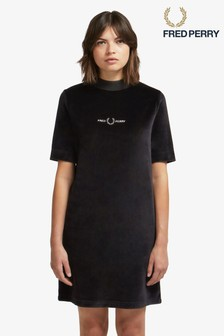 Fred Perry Black Velour Embroidered Dress