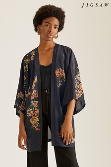 Jigsaw Navy Hydrangea Long Silk Cape