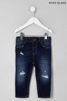 River Island Blue Dark Sid Nicolson Rip Jeans