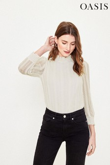 Oasis White Lace Mesh Blouse