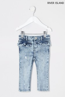 River Island Molly Jeans mit Rüschendetail, Acid Wash