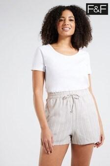 F&F White Linen Blend Neutral Stripe Shorts