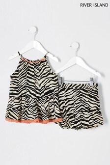 River Island Beige Zebra Flutter Top And Short Set