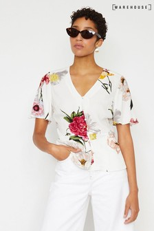 Warehouse Natural Flora Floral Peplum Blouse