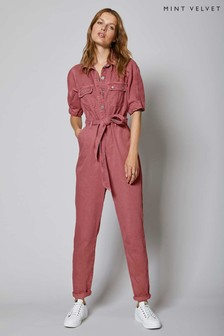 Mint Velvet Pink Cotton Twill Boilersuit