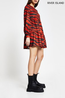 River Island Red Zebra Blouson Sleeve Smock Dress