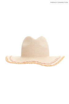 French Connection Natural Frayed Edge Straw Hat