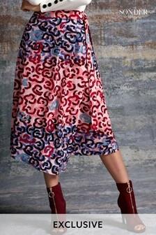 Sonder Pink Squiggle Print Wrap Skirt