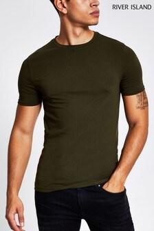 River Island Khaki Dark Essential Muscle T-Shirt