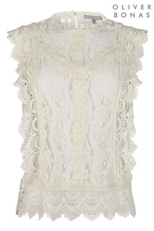 Oliver Bonas Lace Frill White Sleeveless Top