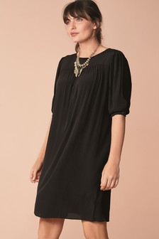 Puff Sleeve Gathered Yoke Dress