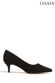 Oasis Black Kitten Heel Court Shoes