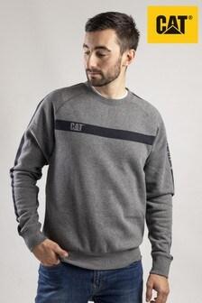 CAT® Grey Icon Stripe Crew Neck Sweater