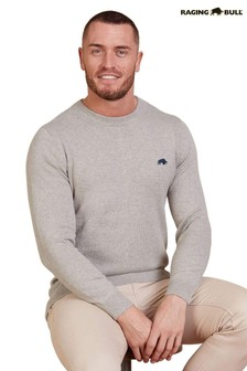 Raging Bull Grey Marl Cotton Cashmere Crew Neck