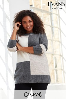 Evans Curve Grey Stitch Colourblock Jumper