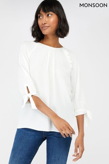 Monsoon Cream Josiah Tie Sleeve Blouse