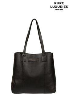 PureLuxuries London Black Ruxley Leather Tote Bag