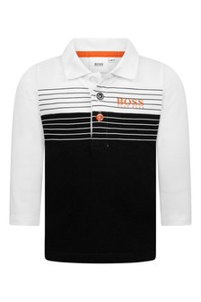 Baby Boys White/Black Cotton Long Sleeve Poloshirt