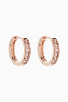 Pavé Hinge Hoop Earrings
