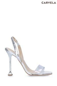 Carvela Silver Glitz Heeled Sandals