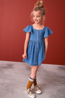 Button Dress (3-16yrs)