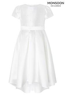 Monsoon White Henrietta Pearl Embellished Dress