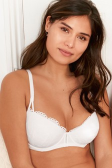 Phoebe Lightly Padded Cotton Broderie Balcony Bra