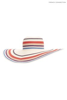 French Connection Natural Stripe Straw Hat