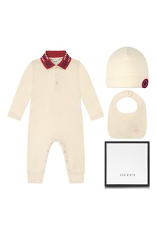 Baby Boys White Piquet Embroidered Collar Babygrow, Hat and Bib Gift Set