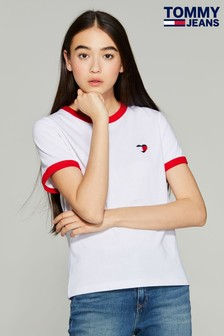 Tommy Jeans White Ringer Heart Flag T-Shirt