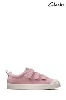 Clarks Pink Canvas City Vibe K Canvas Velcro Shoes