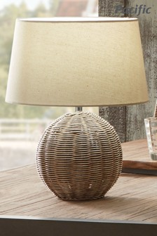 Raffles Rattan Cream Wash Table Lamp by Pacific Lifestyle