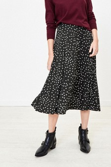 Oasis Black Spot Pleated Skirt