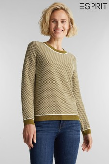 Esprit Green Long Sleeved Fancy Stitch Sweater