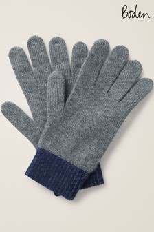 Boden Charcoal/Navy Ribbed Cashmere Gloves