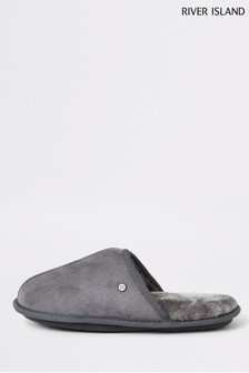 River Island Grey Mule Slippers