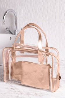 Set of 4 Rose Gold Make-Up Bag