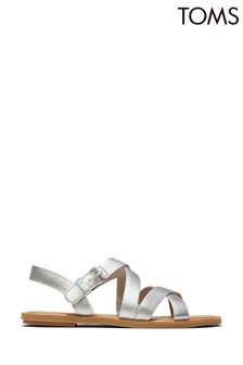 TOMS Silver Leather Sicily Sandals