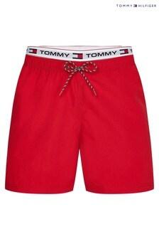 Tommy Hilfiger Red Tommy Logoline Drawstring Swim Shorts
