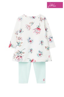 Joules White/Cream Christina Organically Grown Cotton Dress And Legging Set