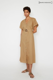 Warehouse Natural Linen O-Ring Belted Midi Dress
