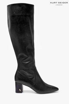 Kurt Geiger London Black Leather Burlington Knee Boots