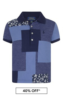 Girls Navy Cotton Patchwork Polo Top
