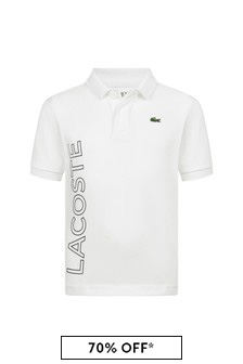 Lacoste Sport Boys White Short Sleeves Polo Top