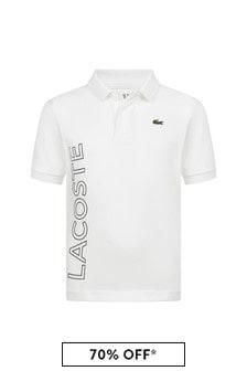 Boys White Short Sleeves Polo Top