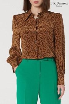 L.K.Bennett Brown Sonya Silk Shirt