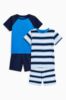 Sporty Short Pyjamas Two Pack (3-16yrs)