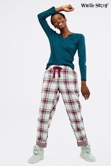 White Stuff Natural Midnight Check Pyjama Bottoms