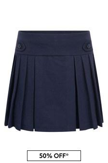 Girls Navy Pleated Ponte Skirt