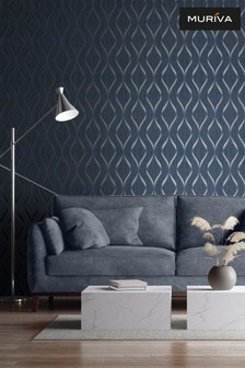 Muriva Blue Indra Wave Wallpaper